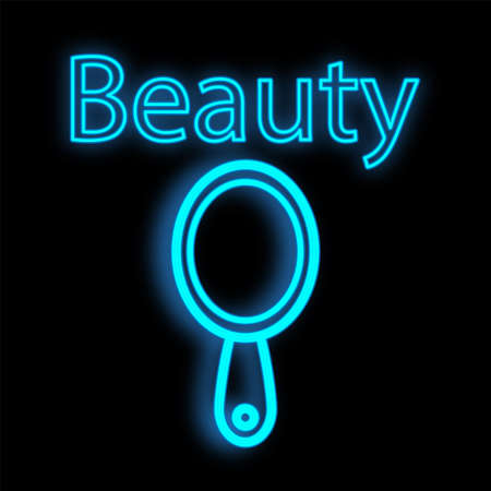 makeup mirror, blue, neon on a black background. tool for beauty masters, hairdressers and makeup artists. signboard for a studio of makeup artists and a beauty bar. vector illustration.
