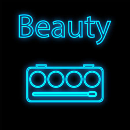 make-up palette with a blue neon contour on a black background. a set of cream textures to create contouring, tone and blush on the face. makeup tool for makeup artist. vector illustration. Vectores