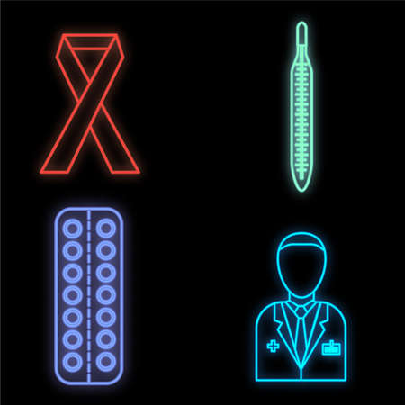 Set of bright glowing multicolored medical neon signs for a pharmacy or hospital store beautiful shiny scientific pills thermometer doctor on a black background. Vector illustration.