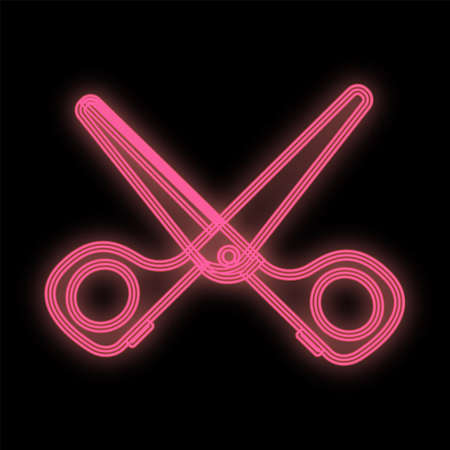 bright neon pink scissors on a black background. Glamorous tool for manicure and pedicure, creating hairstyles, styling. barber scissors.   vector illustration.