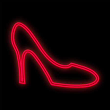 Bright Red Neon Shoe On A Black