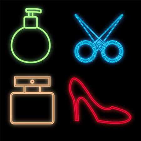 set of bright neon beauty items on a black background. perfume, scissors, men's perfume, stylish shoe. flatlay. beautiful cute bright items. vector illustration.