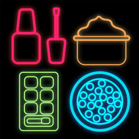 set of bright colored neon beauty items on a black background. the set includes varnish, loose powder in balls, face cream and a palette with shadows. makeup tools, make-up artist. vector illustration.