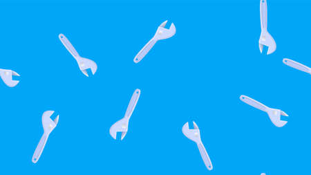 Wrench spanner icon isolated seamless pattern on blue background. Vector.