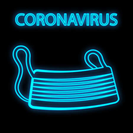 Bright glowing blue medical scientific digital neon sign for hospital laboratory pharmacy beautiful with covid 19 coronavirus pandemic respirator mask on black background. Vector illustration.