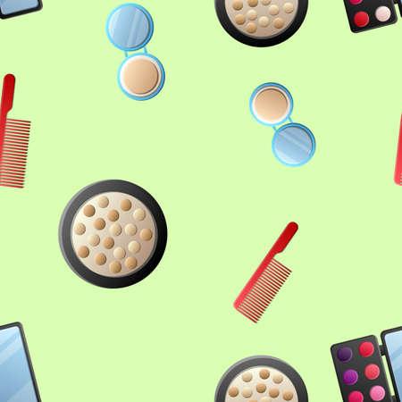 A seamless pattern of cosmetics with lipstick, nail polish, mascara, hairbrush, face cream, eye shadow, perfume, hair dryer.