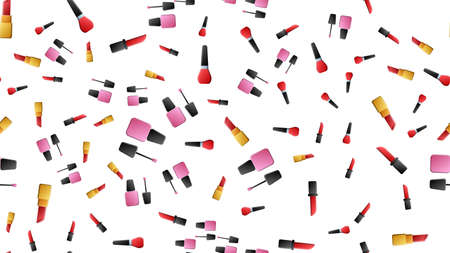 Vector seamless pattern with cosmetics. Mascara, brush and lipstick. Hand drawn style.