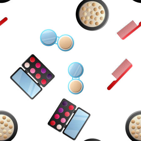 Cosmetic seamless pattern. Hand drawn cartoon doodle Vector seamless pattern with makeup items - nail polish, mirror, perfume.