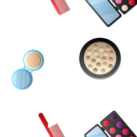 Cosmetic products, makeup brushes and powders seamless pattern.