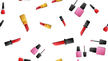 Hand drawn make up, cosmetics and beauty items seamless pattern with hairbrushes, lipstick and nails polish illustration isolated.