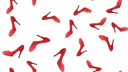 Realistic Detailed 3d Woman High Heel Red Shoes Seamless Pattern Background on a White Elegant Style Concept. Vector illustration of Sexy Female Footwear.