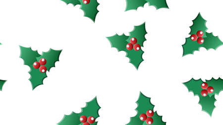 Vector green, red holly berry and mistletoe holiday seamless pattern background. Great for winter themed packaging.