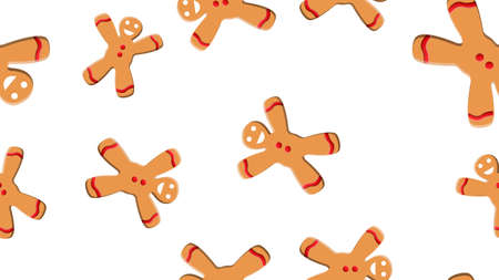 Seamless pattern with gingerbread man and woman Cookies. Stock Illustratie