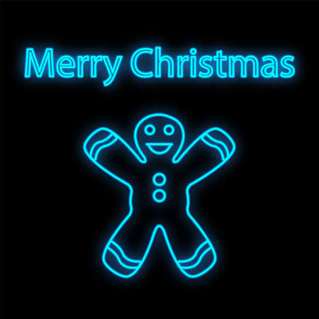 Gingerbread man neon sign. Ginger bread, cookie, biscuit. Vector illustration in neon style for topics like Christmas, dessert, bakery. 일러스트