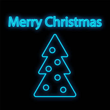 Christmas tree in neon light. Neon sign. Concept design greeting card, poster or banner. Vector illustration. 일러스트