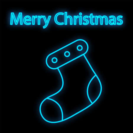 Lovely Merry Xmas concept linear neon design with Christmas sock. Greeting typography compositions Xmas cards, banners or posters and other printables.  イラスト・ベクター素材