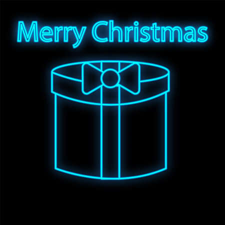 Vip neon icon. Neon open Gift box icon on the dark brick wall background. Merry Christmas and Happy New Year. Flat style.  イラスト・ベクター素材
