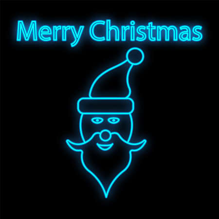 Neon Santa Claus shape. Festive sign element. Christmas concept for night bright advertisement. Vector illustration in neon style for Christmas, New Year, holiday.  イラスト・ベクター素材