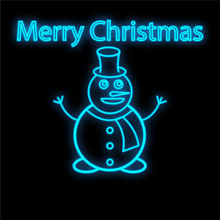 Snowman Neon Sign. Bright Glowing Symbol On A Black Background. 向量圖像