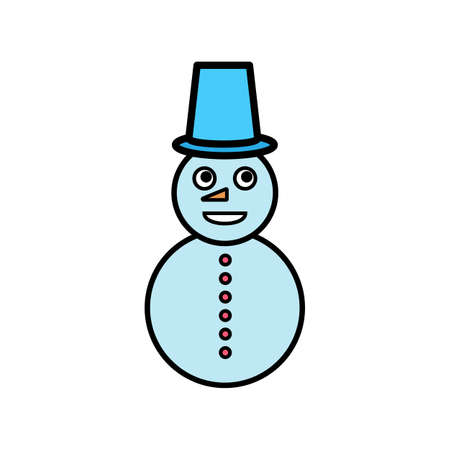 Snowman isolated on white background. Vector illustration. 向量圖像