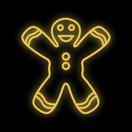 Man cookie neon glow icon. Simple thin line, outline vector of Christmas, new year, joy icons website or mobile application.