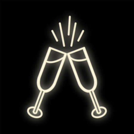 Neon drink in two glasses. Bright toast sign. Cocktails, binge, champagne, wine, theme. Light glowing alcohol symbol.