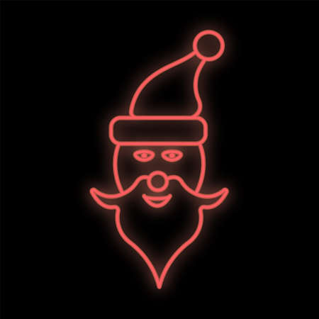 Santa Claus neon sign. Merry Christmas neon banner with vintage xmas lettering on wall background.
