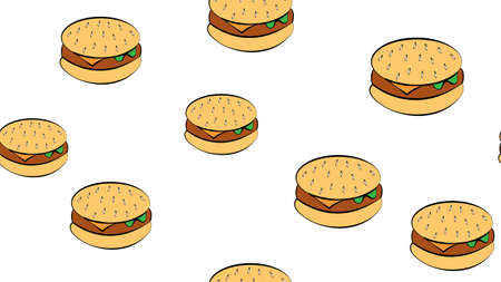 appetizing burgers on a white background, vector illustration. pattern with bright, colorful burgers with appetizing and juicy filling. yellow, brown, bright burgers. wallpaper, food pattern.