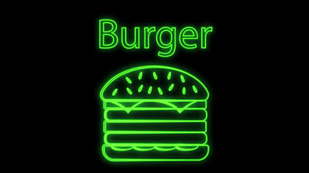 burger on a black background, vector illustration. burger neon with green backlight. appetizing sandwich to satisfy hunger. fast food, hearty food. meat snack.