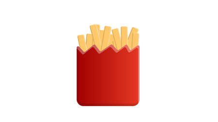 French fries on a white background, vector illustration. appetizing potatoes, junk food, fat. French fries in a red cardboard cup. fast food, synthetic food. 矢量图像