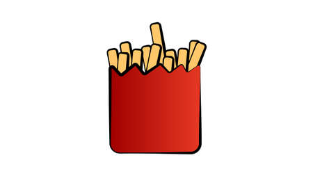 French fries cartoon clipart. French fries in a red carton paper box. 矢量图像