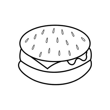 black and white burger, vector illustration. white burger with black line. sesame seeds and seeds are drawn on top. appetizing buns, junk food. fast food, image for cafe.