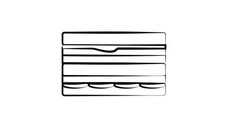 Vector Sandwich with Toothpick Sketch, Hand Drawn Illustration, Outline Black Drawing Isolated on White Background.