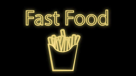 French fries in neon style on a black background, vector illustration. yellow neon with fast food inscription. neon sign for cafes and restaurants.