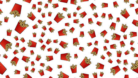 fried potatoes on white background, vector illustration, pattern. French fries in a red cardboard bag. wallpaper, home decor with painted potatoes. decoration of cafes, kitchens, places for cooking.