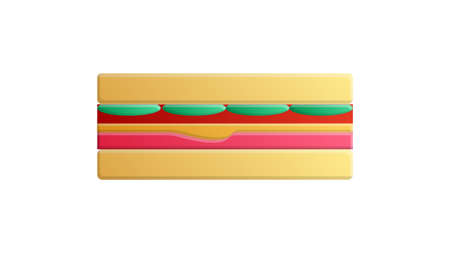 Big sandwich with meat and cheese, vector icon.