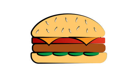 appetizing burger with filling on a white background, vector illustration. vegetarian burger with soy cutlet, salad, tomatoes. appetizing bun, fast food. Vettoriali