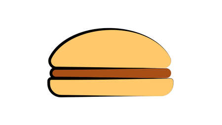 appetizing burger with filling on a white background, vector illustration. vegetarian burger, no meat and cheese, with salad and grass. appetizing diet bun.