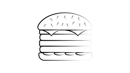 The hand-drawing inscription: Burger Lover. Image of burger isolated on white background. It can be used for cards, brochures, poster, t-shirts, mugs, etc. Vettoriali