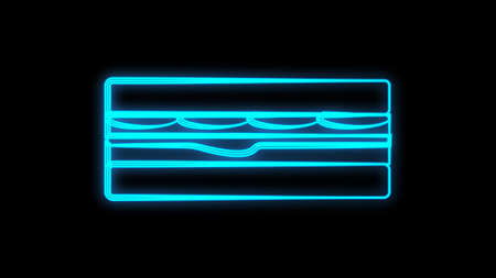 Sandwich neon sign. Glowing sandwich banner in neon style. Food concept. Night bright advertisement. Vector illustration for night snack bar or restaurant.