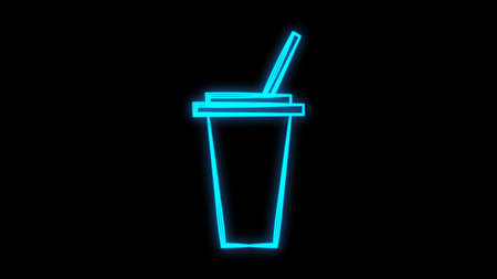 coffee in a glass with a straw, on a white background, vector illustration. neon sign in blue. lighting for cafes and restaurants. decor of a coffee shop, pastry shop.