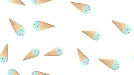 Seamless pattern with contour ice cream and hearts. Thin line flat design. Vector background.