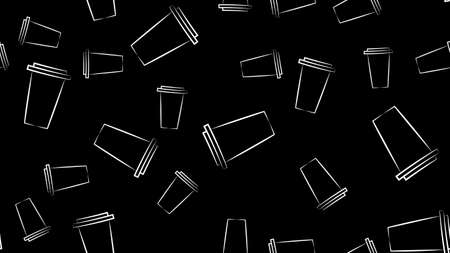 Seamless pattern with black and white ice cream bucket, ice cream scoop. 矢量图像