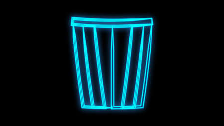 Glowing neon line Popcorn in cardboard box icon isolated on brick wall background. Popcorn bucket box. Vector. 矢量图像