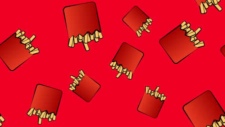 French fries on a red background, pattern, vector illustration. delicious fried food, delicious lunch, quick bite, fast food. wallpaper for restaurant and cafe, kitchen decor.
