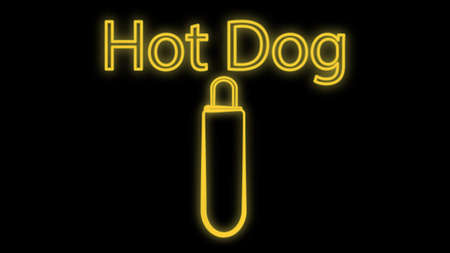 hot dog on a black background, neon, vector illustration. sausage sandwich, stuffed, appetizing bun. neon with an inscription in yellow. bright signboard for cafe, restaurant. 向量圖像