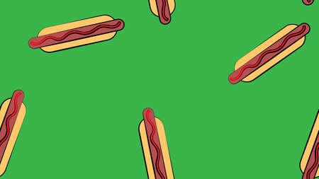 hotdog us green background, vector illustration, pattern. bun with sausage, ketchup. favorite snack. wallpaper for restaurant, cafe, kitchen decor. design of fast food restaurant, roadside cafe. 矢量图像