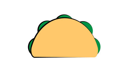 tacos on white background, vector illustration. traditional mexican cuisine. delicious appetizing lunch. hearty snack with meat filling. vegetarian sandwich with herbs and cheese.