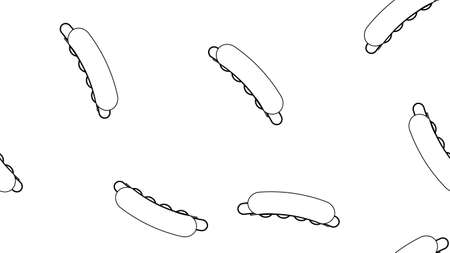 hot dog on white background, vector illustration, pattern. sausage sandwich, stuffed, appetizing bun. black and white illustration, drawing of a hot dog. pencil drawing style illustration. 向量圖像