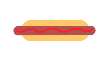 hot dog on white background, vector illustration. bun with sausage, ketchup, mustard. hearty filling, a harmful dish. fast food snack. harm to health and body. fatty food. 矢量图像